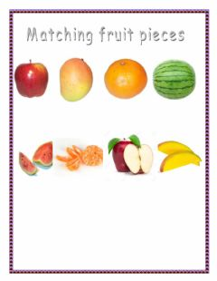 Matching Fruit pieces worksheet preview