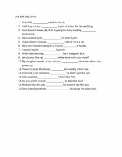 Interactive worksheet and, but,or