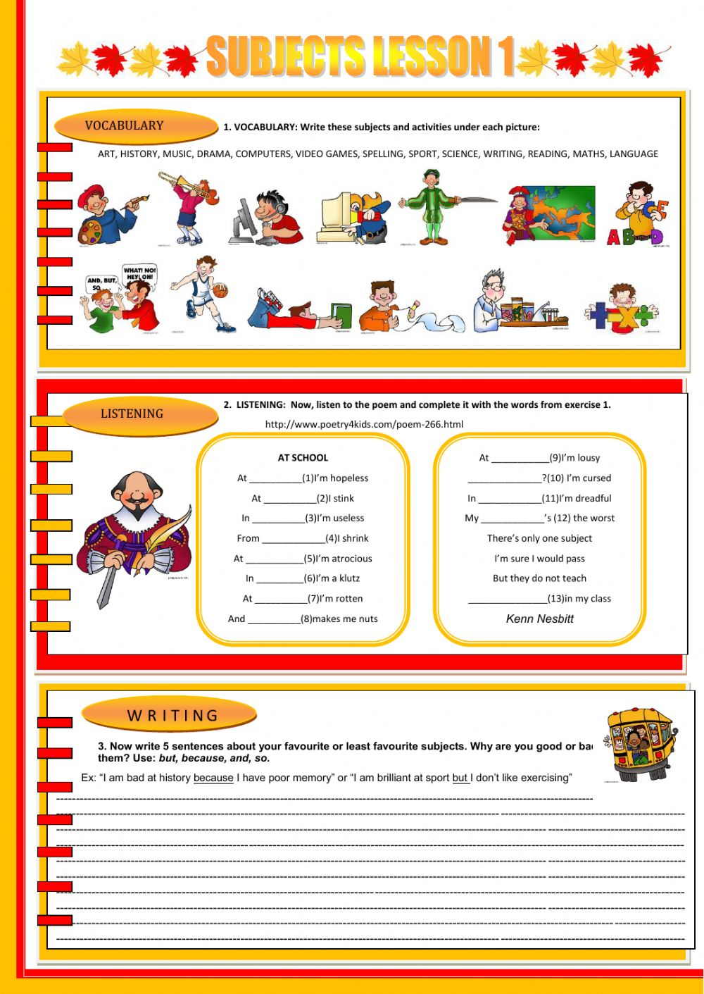 worksheet Subject Worksheets school subjects interactive worksheets worksheet subjects