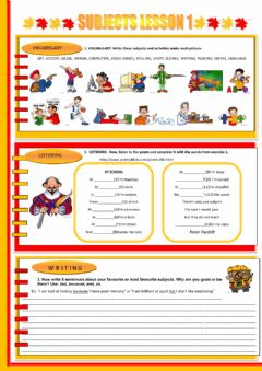 SCHOOL SUBJECTS worksheet preview