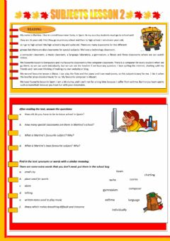 SCHOOL SUBJECTS 2 worksheet preview