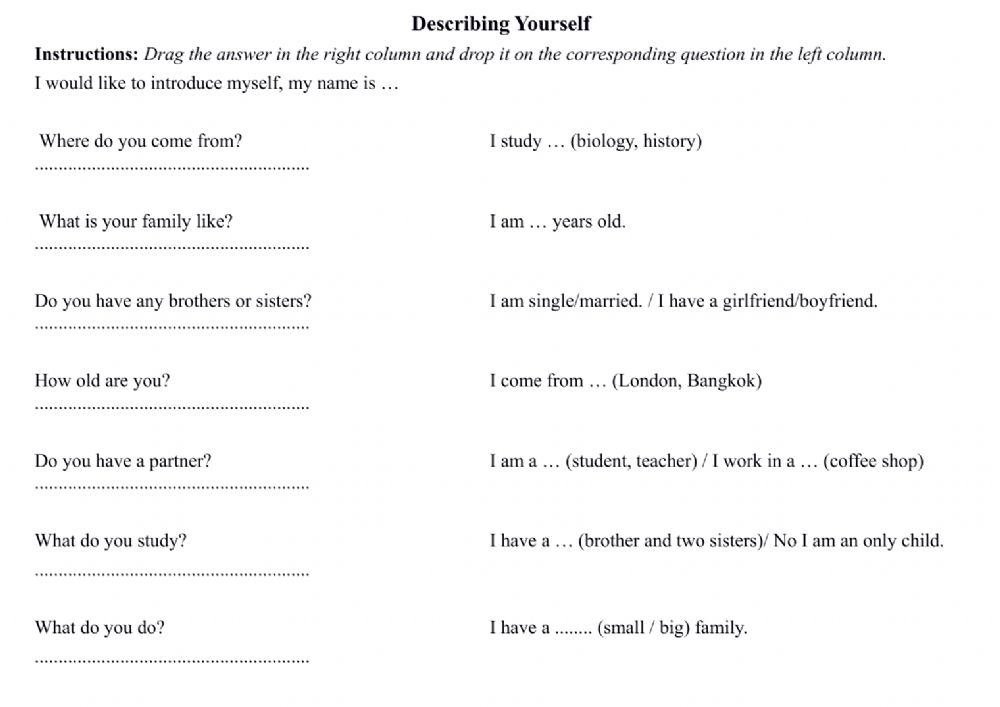 Personal Introductions - Interactive worksheet