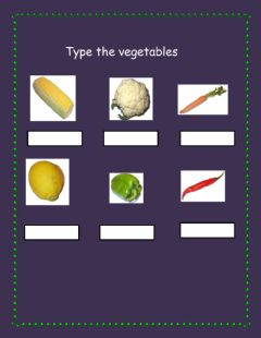 Interactive worksheet Type the vegetables