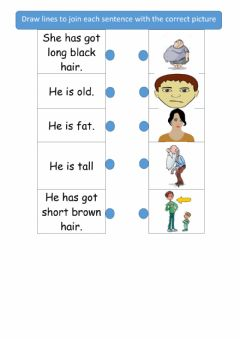 READ AND MATCH : DESCRIBING PEOPLE worksheet preview