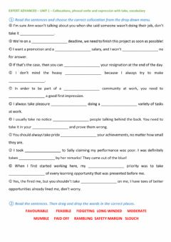 Interactive worksheet Unit 1 - Collocations, Phrasal Verbs, and Vocabulary