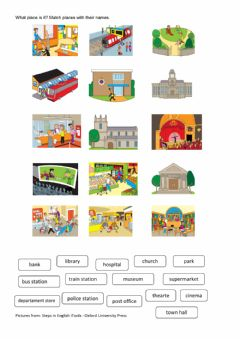 Places in town worksheet preview