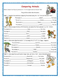Interactive worksheet Comparatives -Comparing Animals-
