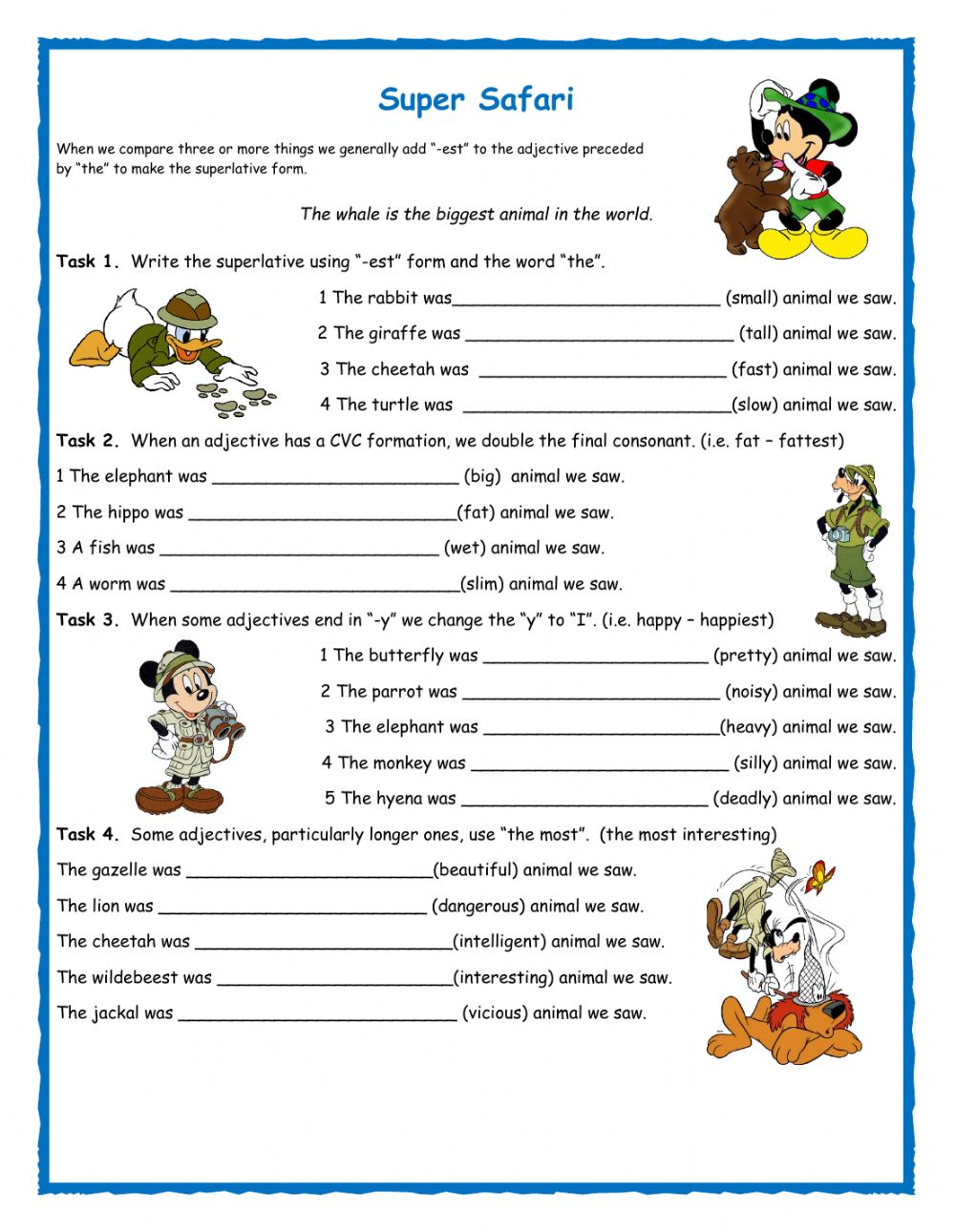 Comparatives and superlatives Interactive worksheets