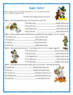 Superlative -Super Safari- worksheet preview