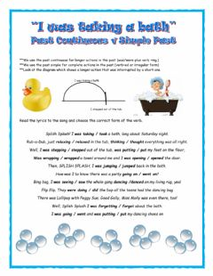 Interactive worksheet Past Continuous -I Was Taking a Bath-