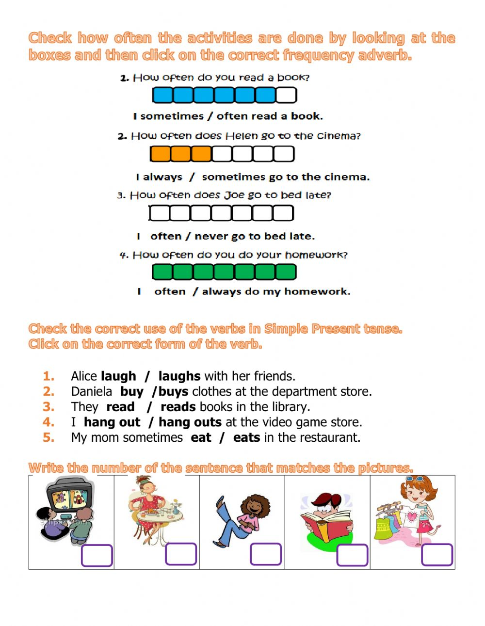 Frequency Adverbs Interactive Worksheet