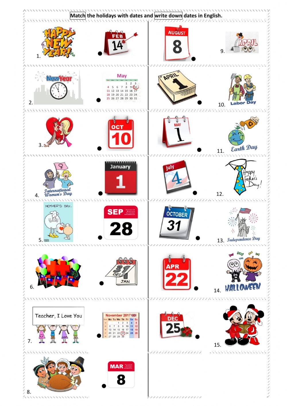 worksheet Dates Worksheet holidays dates interactive worksheet text
