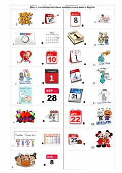 Interactive worksheet Holidays - dates