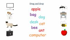 Picture vocabulary A, B, C, D - drag and drop ex. worksheet preview