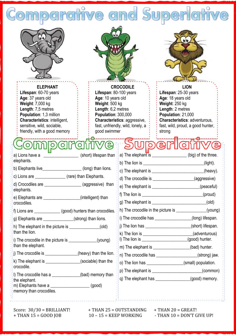 Comparative and superlative Interactive worksheet – Comparative Superlative Worksheet