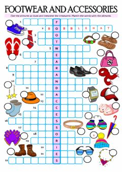 FOOTWEAR AND ACCESSORIES worksheet preview