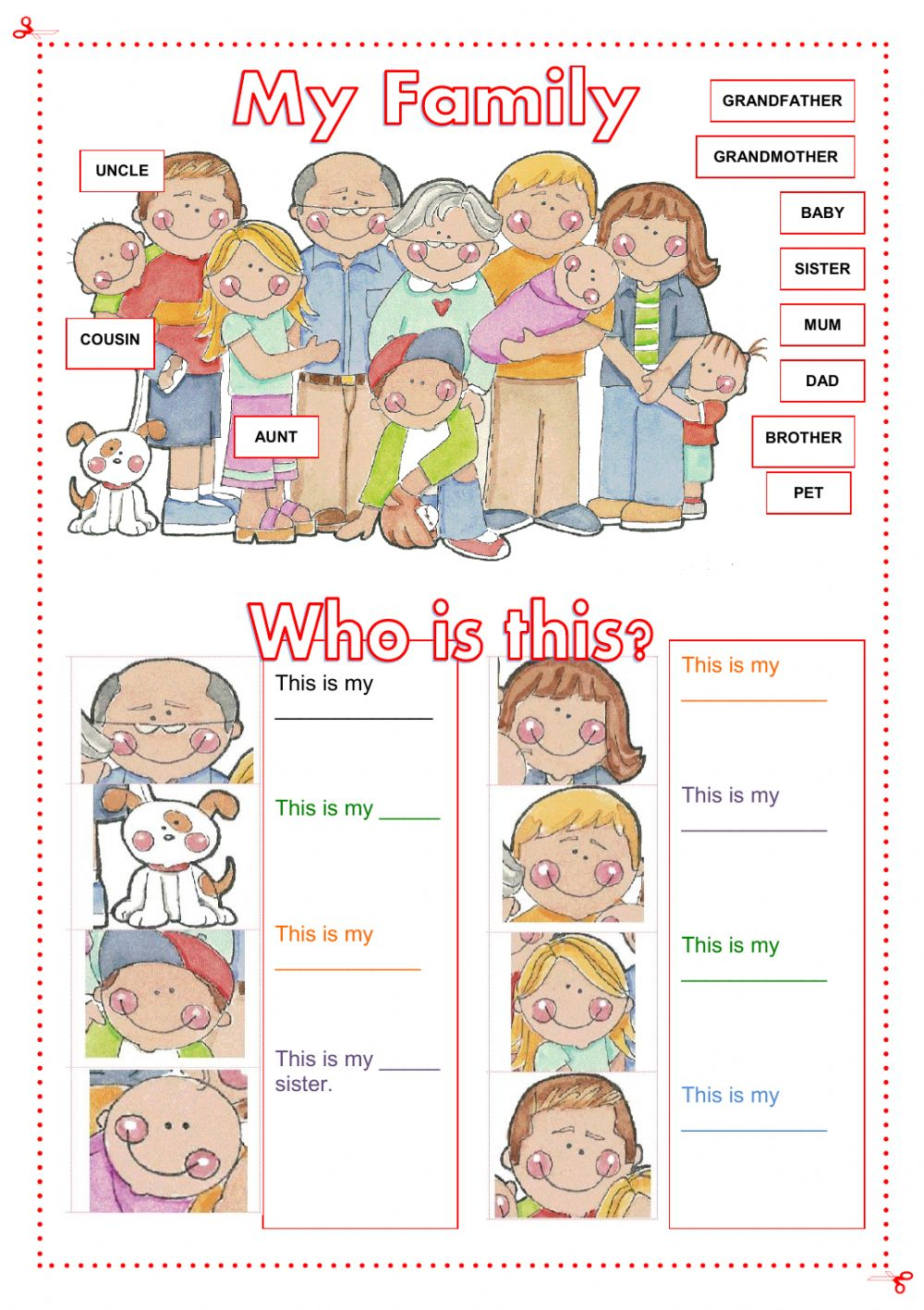 Esl elementary worksheets family