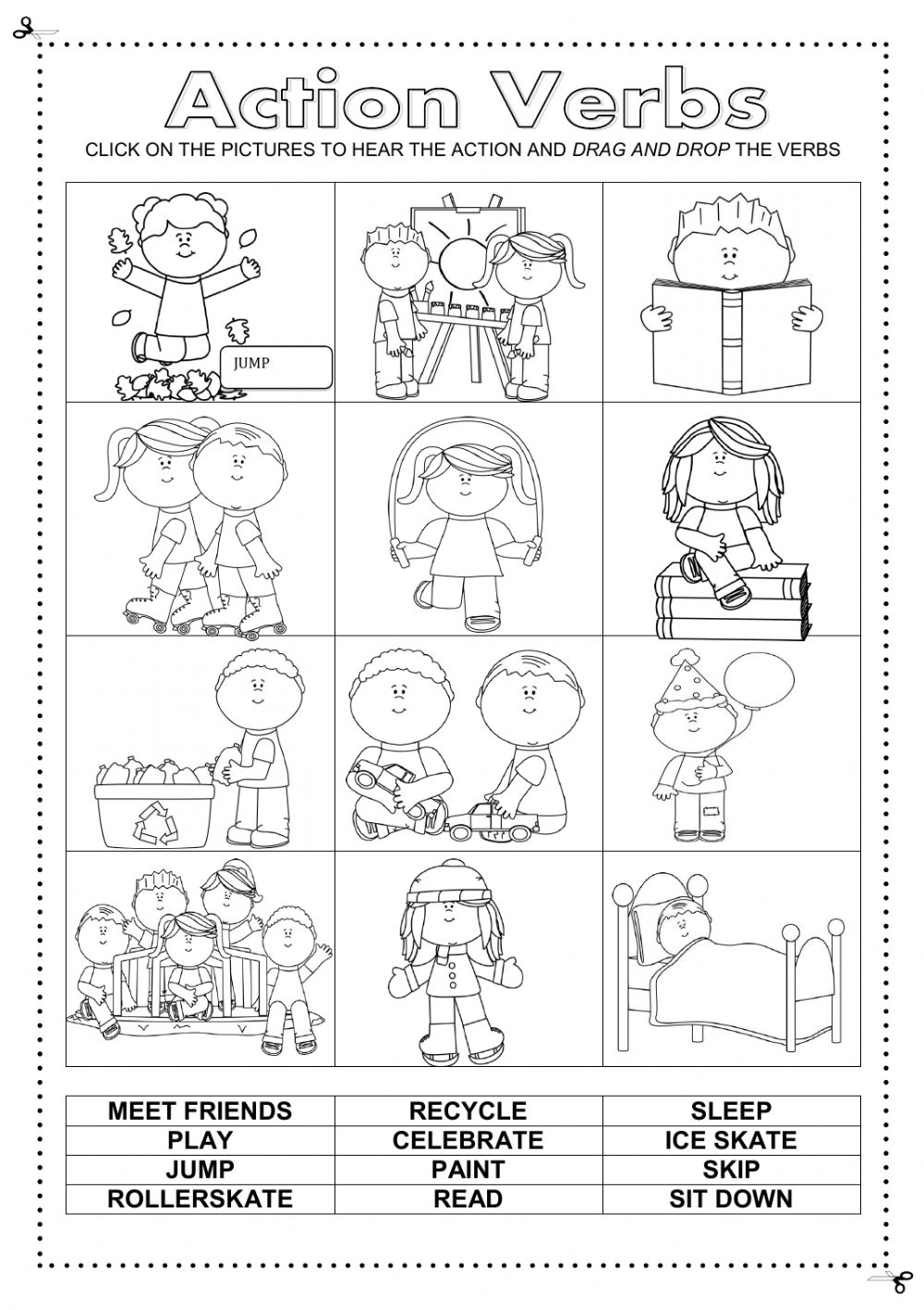 Worksheets Work Sheets On Action Verb action verbs online worksheet and pdf text