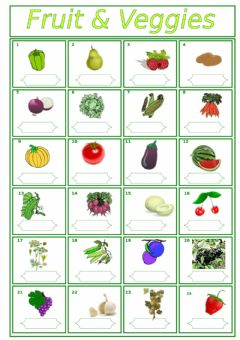 Fruit and Vegetables worksheet preview