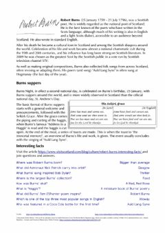Interactive worksheet Robert Burns