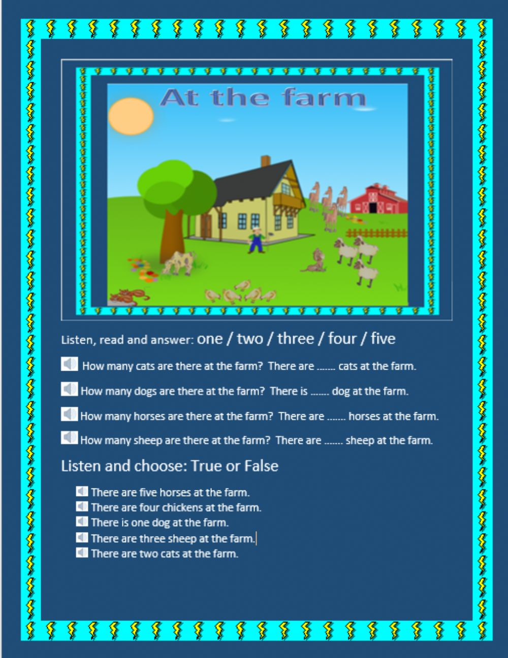 Farm Animals and How Many - Interactive worksheet