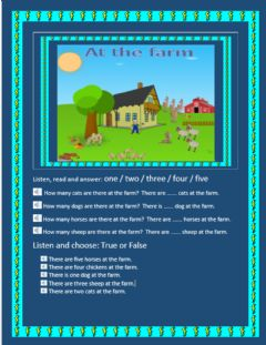 Interactive worksheet Farm Animals and How Many