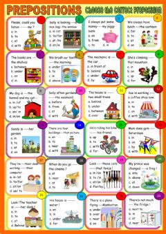 Interactive worksheet prepositions- multiple choice