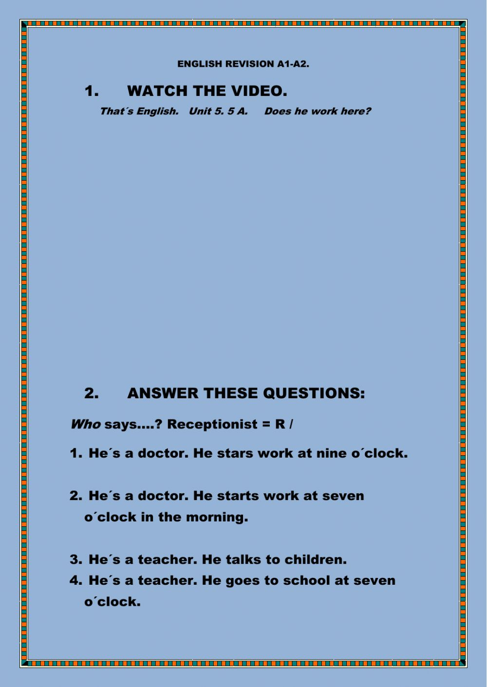 Does he work here? - Interactive worksheet