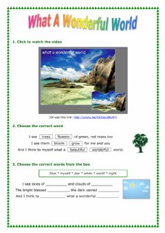 Wonderful World worksheet preview