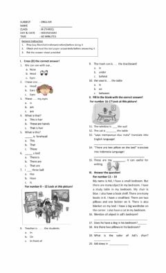 Interactive worksheet place prepositions and the body