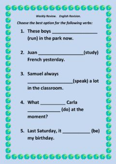 MIXED  VERB TENSE REVISION worksheet preview