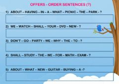 Interactive worksheet Offers - order sentences
