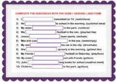 Interactive worksheet like, love, hate... (-ing)