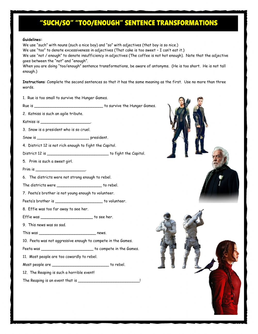 Worksheets Hunger Games Worksheets such so too enough sentence transformations interactive worksheet text
