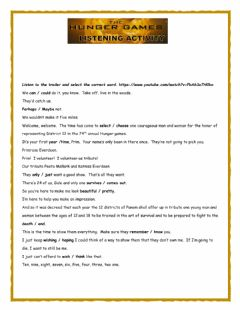 Hunger Games Trailer Listening worksheet preview