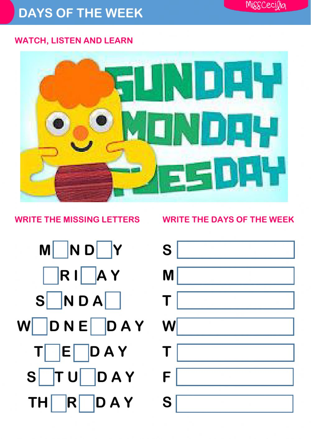 DAYS OF THE WEEK - Interactive worksheet