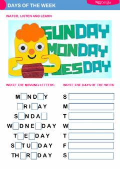 DAYS OF THE WEEK worksheet preview