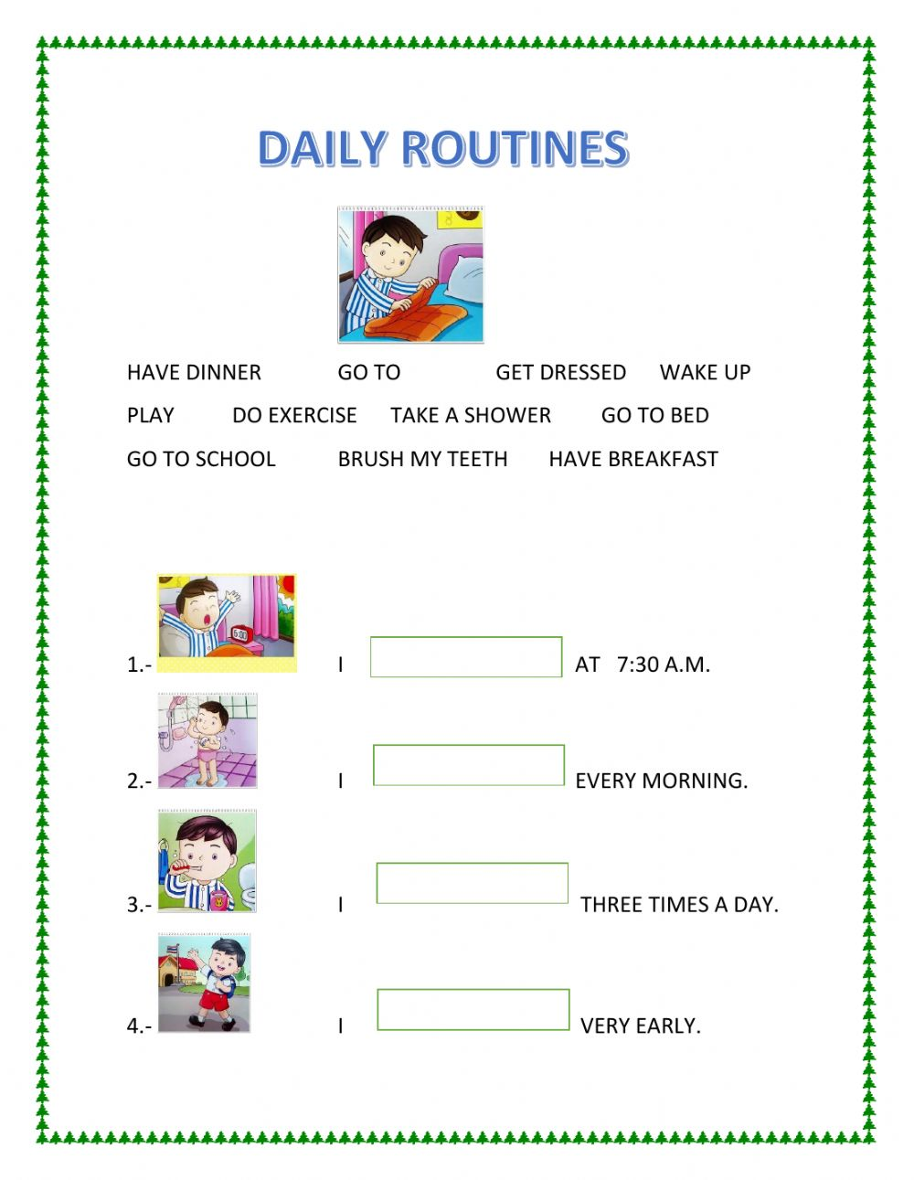 worksheet Routines Worksheets dialy routines interactive worksheet text