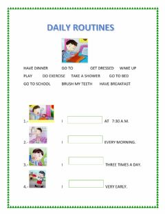 Interactive worksheet Dialy routines