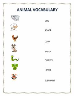 Interactive worksheet Animal matching