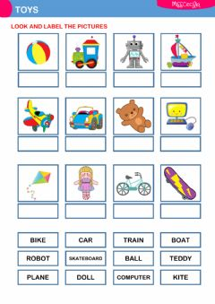 Interactive worksheet Toys (label the pictures)