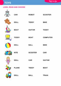 Interactive worksheet Toys (choose)