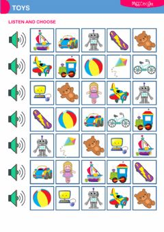 Interactive worksheet Toys (listen and choose)