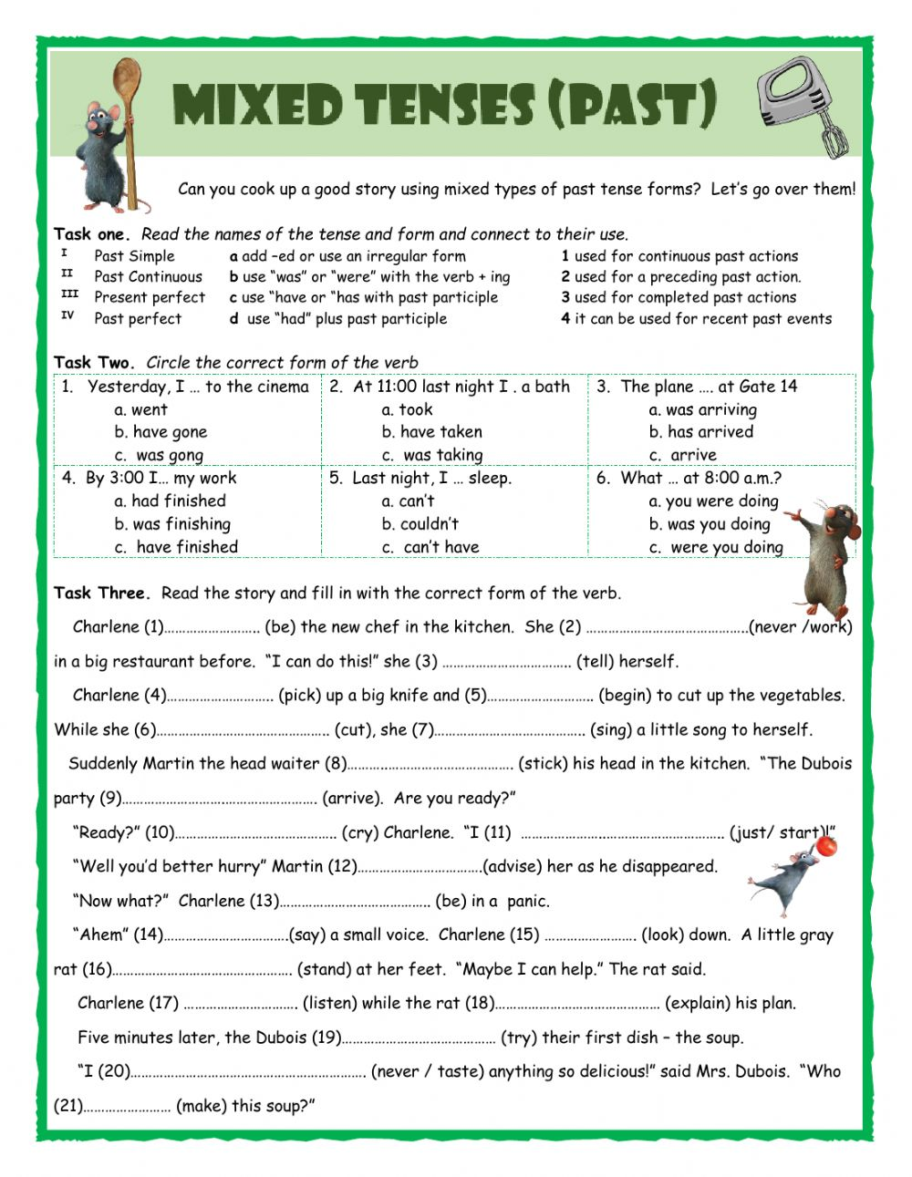 Mixed Tenses (Past) - Interactive worksheet