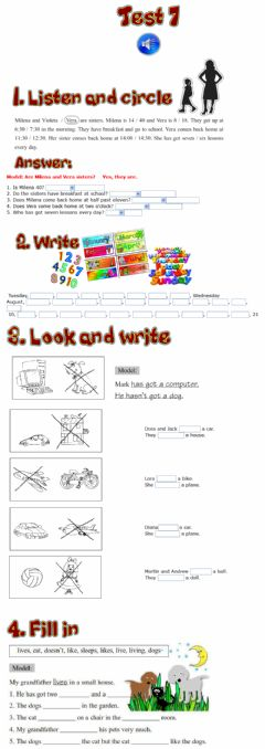 Interactive worksheet Test 7 for the 3rd grade