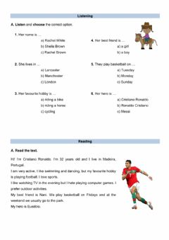 Interactive worksheet Evaluation test with hobbies