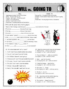 Interactive worksheet Will v Going to