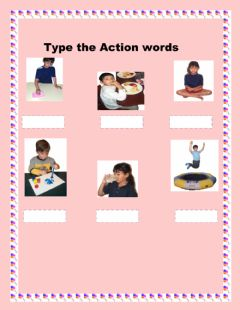 Type the Action words worksheet preview