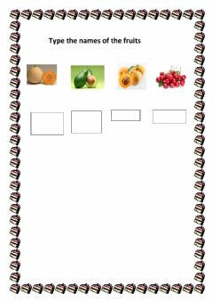 Interactive worksheet type the names of the fruits