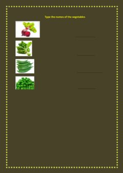 type the names of the vegetables worksheet preview